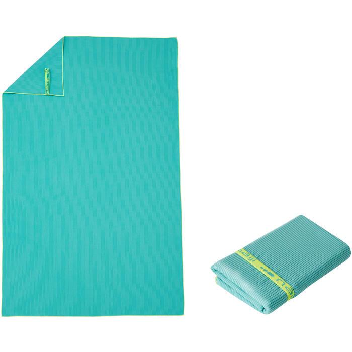 Microvezelhanddoek groen met strepen maat L 80 x 130 cm