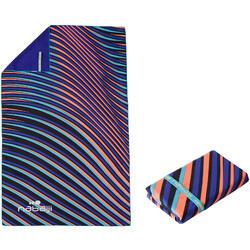 Serviette microfibre bleue imprimée ultra compacte taille L 80 x 130 cm