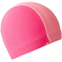 Bonnet de bain tissu maille bicolore rose