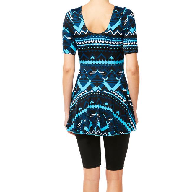 Women swimming costume half sleeved with skirt and half legging - Blue Black