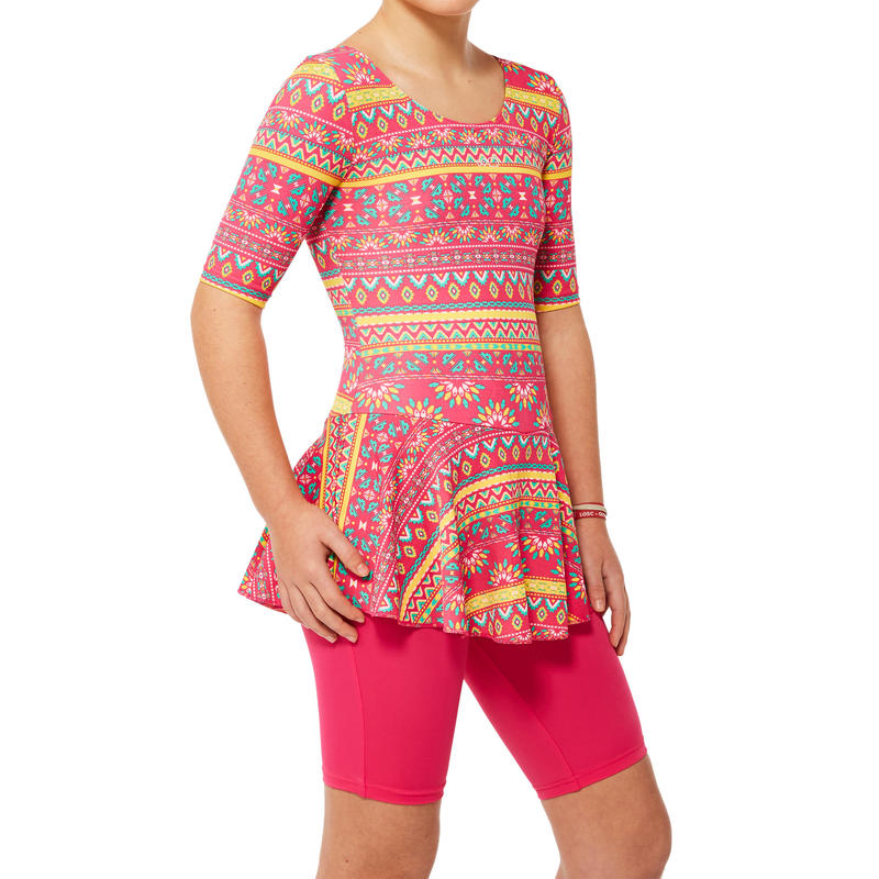 7498933d956 All Sports>Swimming>Swimming Costumes>Girls Swimming Costumes>Girl swimming  costume half sleeves with half leggings - pink with print