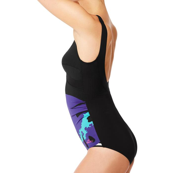 Bañador de aquagym moldeador 1 pieza mujer Karli Tropi negro