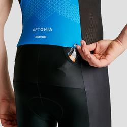 Mouwloze trisuit met voorrits Trifonction korte afstanden heren zwart/blauw