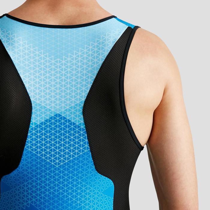 男款鐵人三項短距離前側拉鍊無袖三鐵衣-黑色/藍色