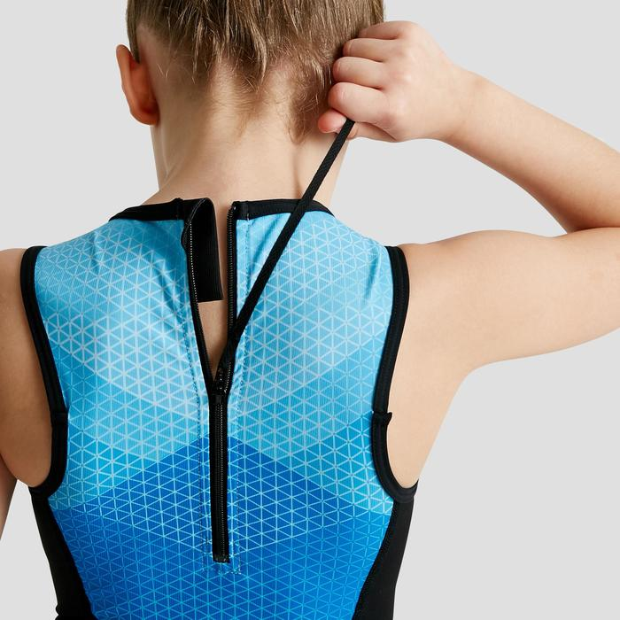 兒童款背側拉鍊無袖三鐵服-黑色/藍色