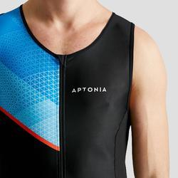 Triathlon-Anzug ärmellos Frontreißverschluss Herren schwarz/blau