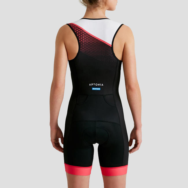 TRIATHLON WOMEN'S SD SLEEVELESS TRISUIT FRONT ZIP BLACK PINK