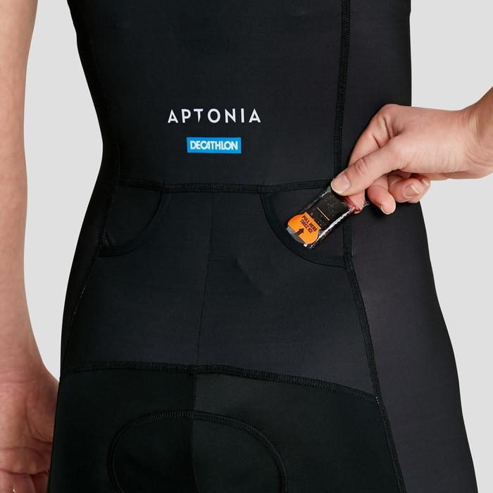 Triathlon-Anzug ärmellos Frontreißverschluss Damen schwarz/rosa