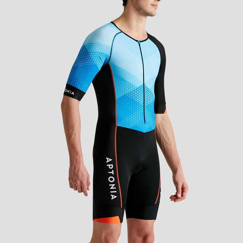 Bộ đồ trisuit ngắn tay LD Triathlon cho nam - xanh dương/ đen