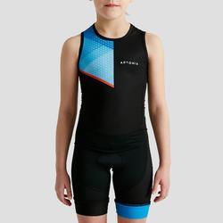 Mouwloze trisuit met rits op de rug voor kinderen zwart/blauw