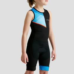 Trisuit kinderen mouwloos zwart blauw