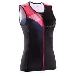 TRIATHLON WOMEN TRISUIT SLEEVELESS TOP FRONT ZIP BLACK PINK