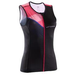 Tritop dames zwart/roze mouwloze tri top