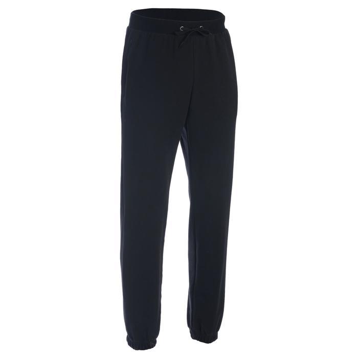Pantalon 500 regular zip Gym Stretching noir homme - 1337211