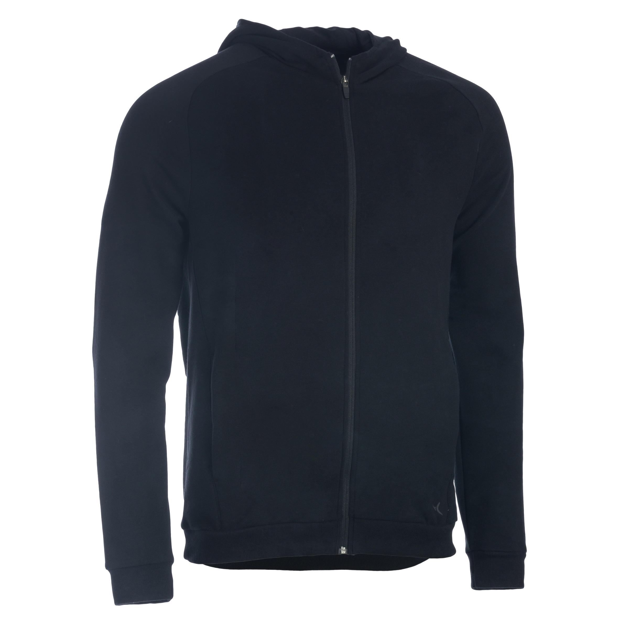 Veste 500 capuche gymnastique d'étirement noir homme
