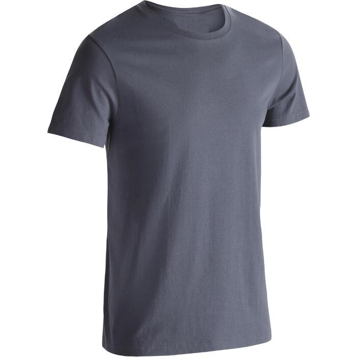 Camiseta Manga Corta Gym Pilates Domyos 100 Regular 100% Algodón Hombre Gris