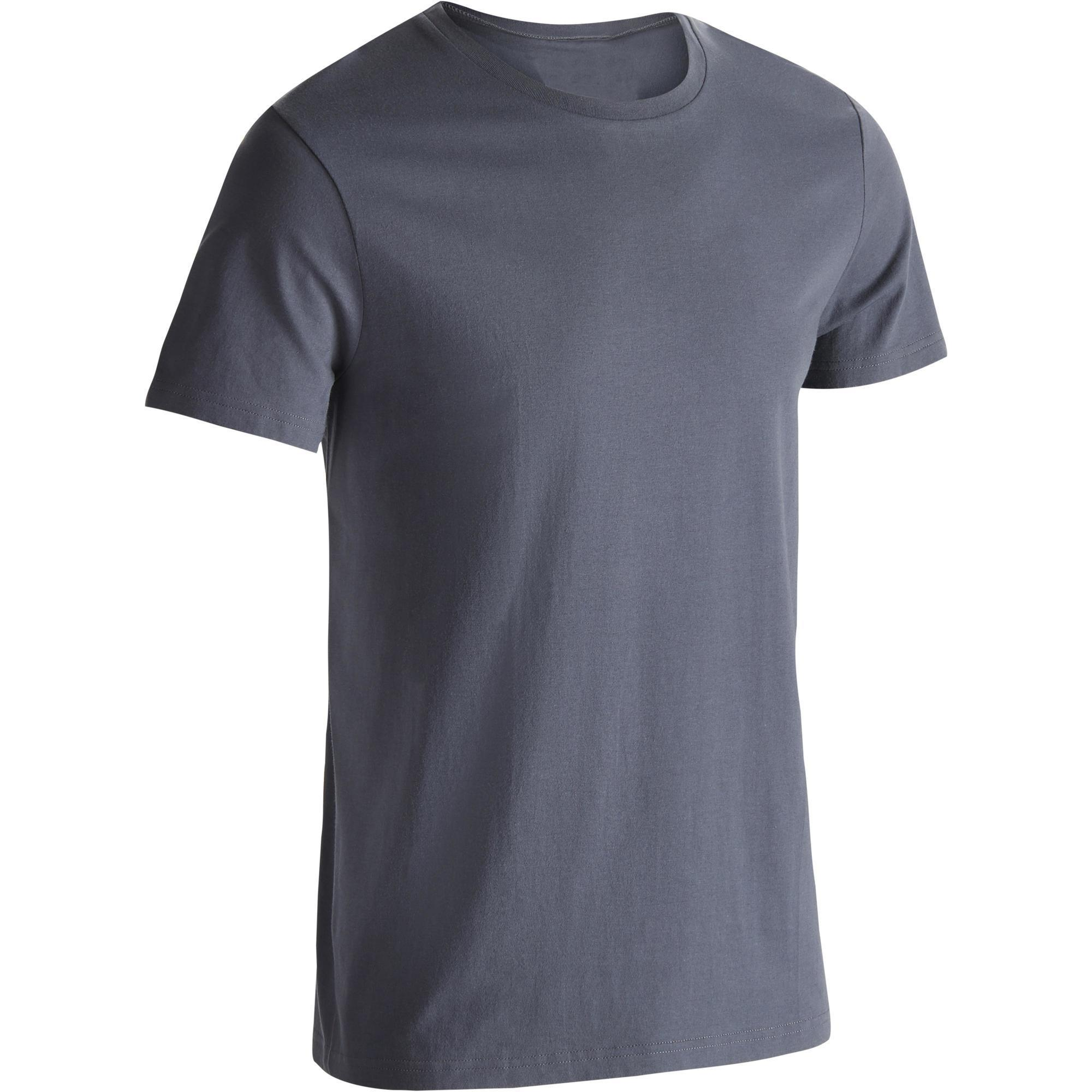 Domyos Heren T-shirt Sportee 100 voor gym en stretching regular fit 100% katoen grijs