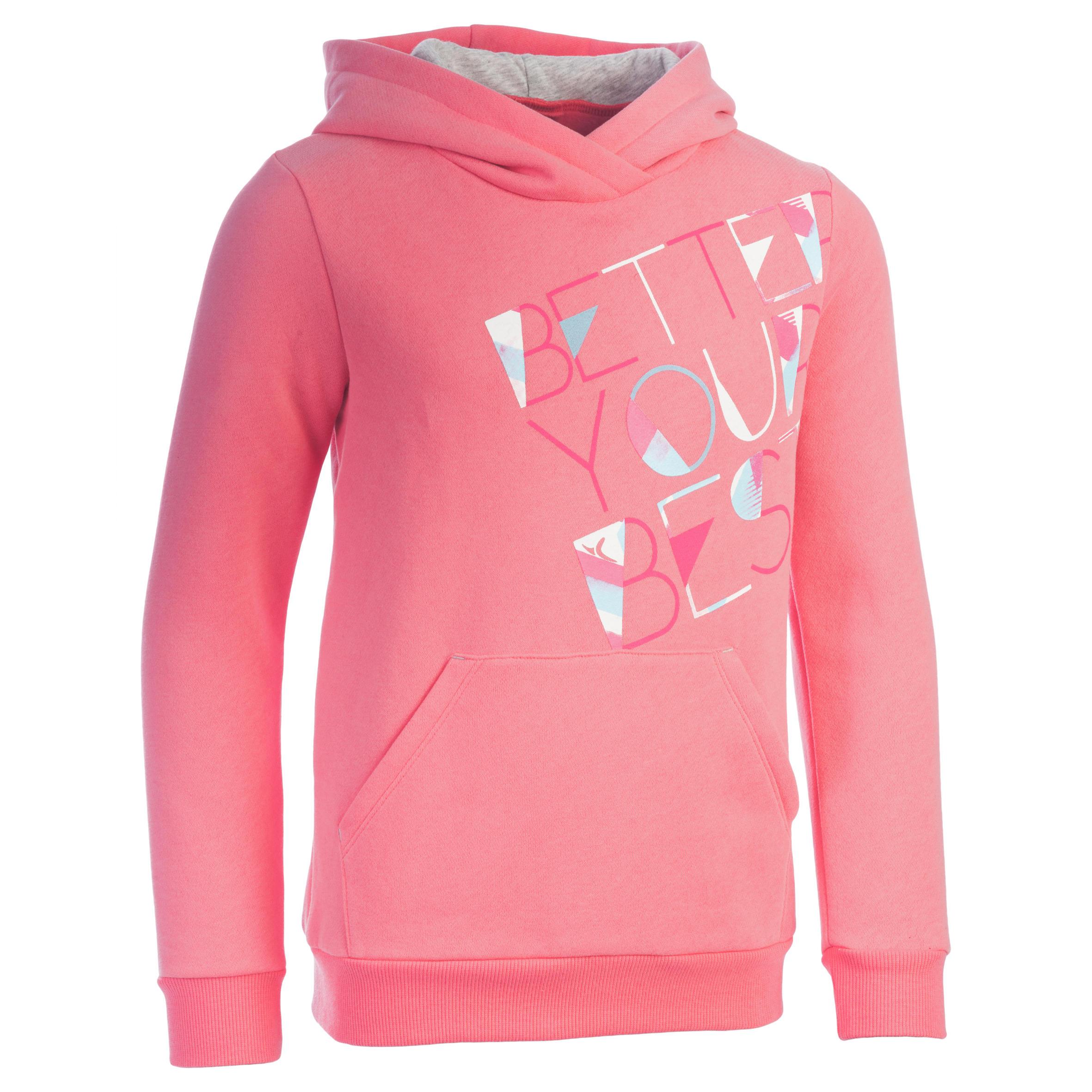 Sudadera 500 gimnasia niña capucha estampado rosa
