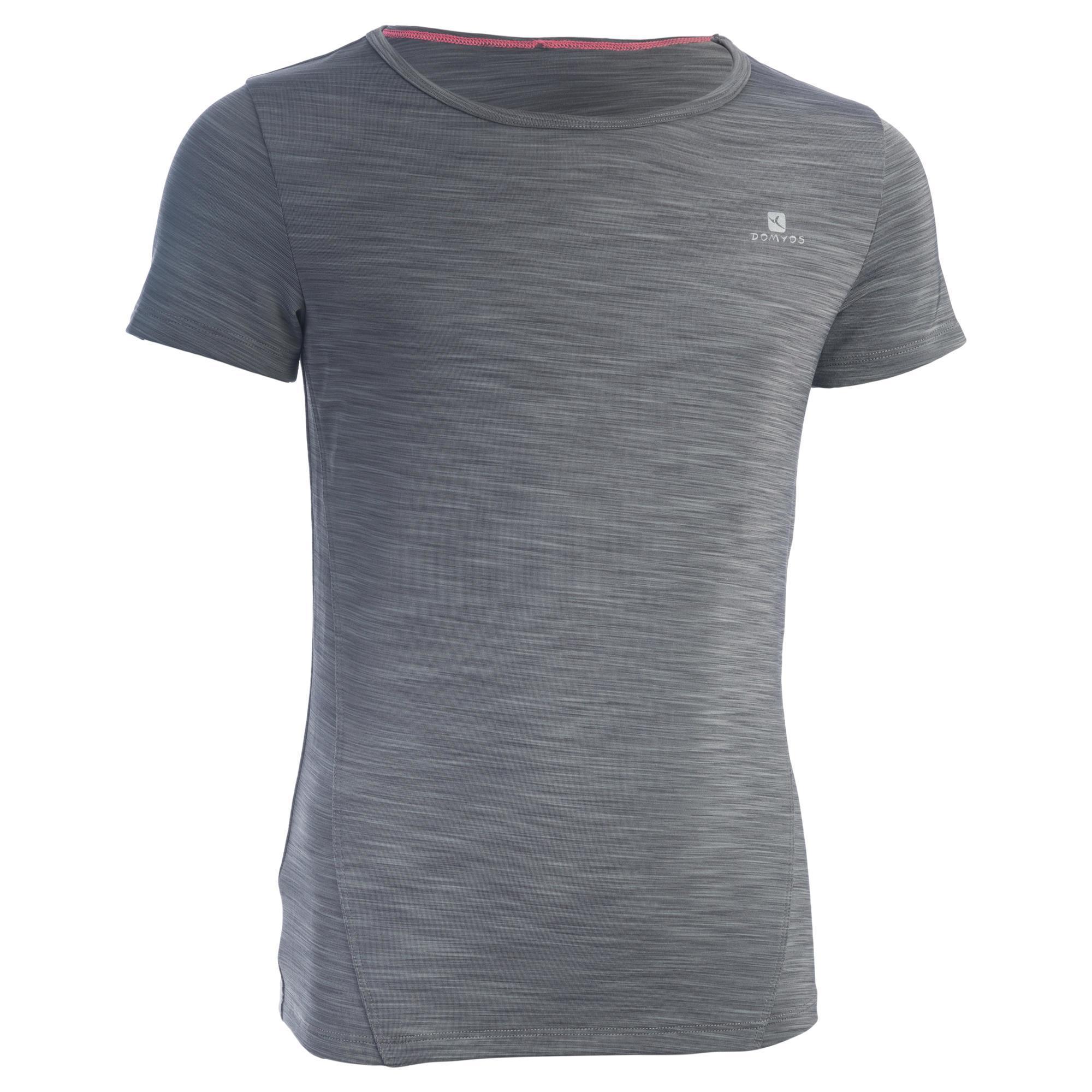 Domyos Gym T-shirt met korte mouwen S500 voor meisjes grijs met print