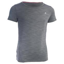 Gym T-shirt met korte mouwen S500 voor meisjes grijs met print