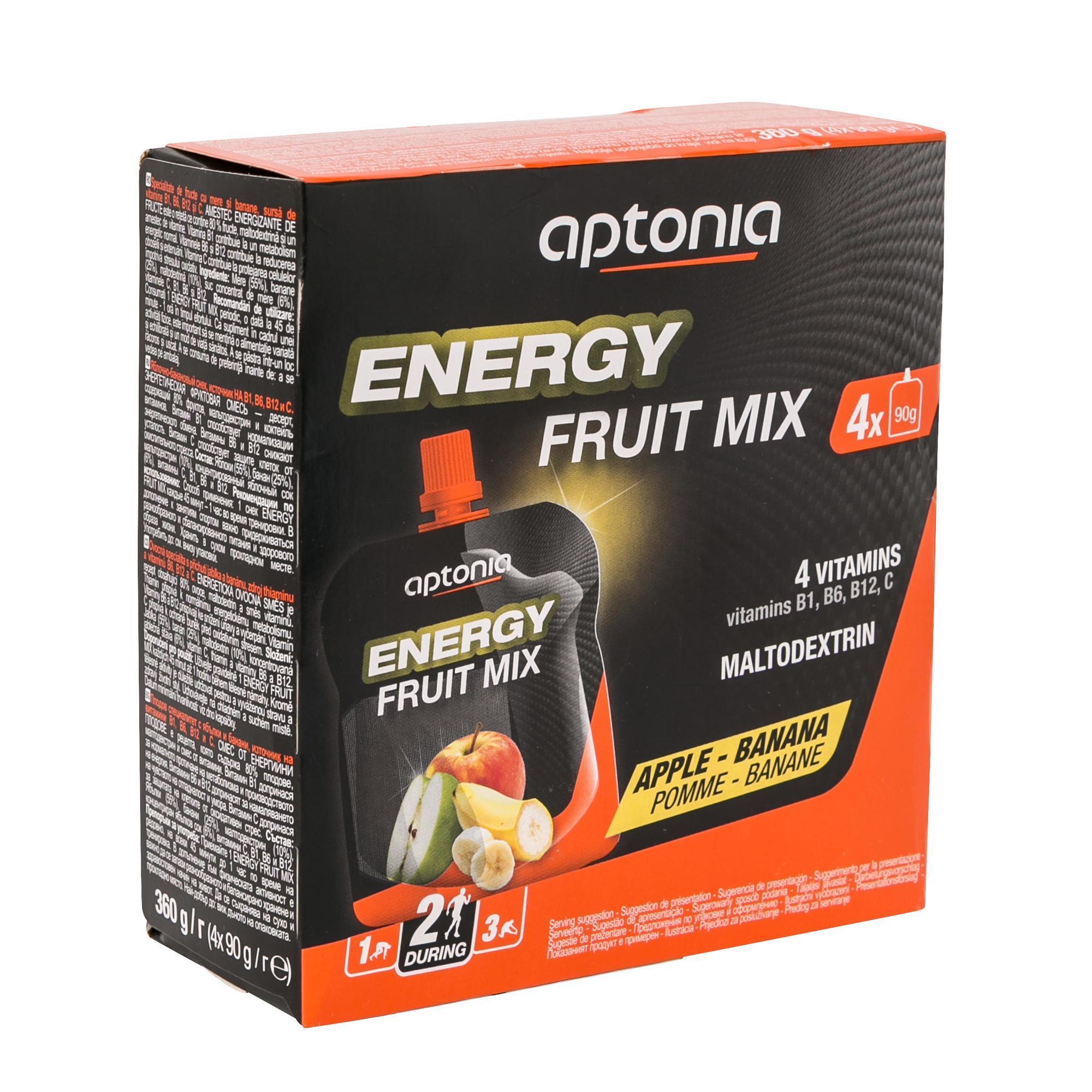 Aptonia Vruchtenlekkernij Energy Fruit Mix appel banaan 4x 90g