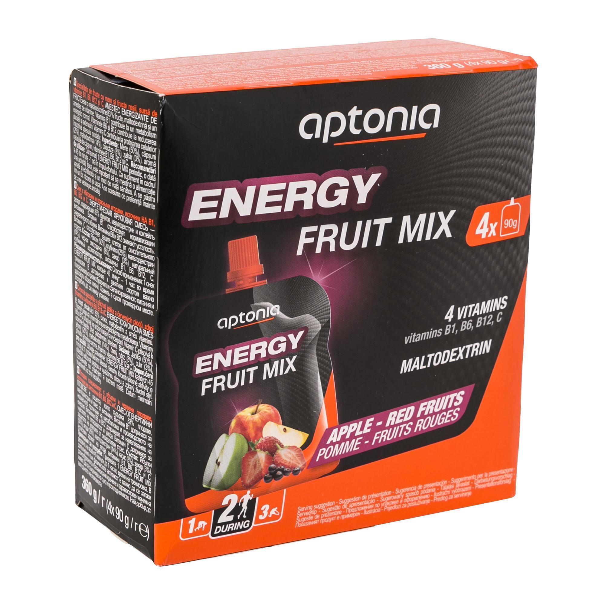 Aptonia Vruchtenspecialiteit Energy Fruit Mix appel rode vruchten 4x 90 g