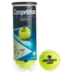 TB 920 Competition Tennis Balls 3-Pack - Yellow