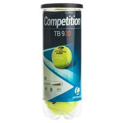 Tennisballen voor competitie TB 920 3 stuks geel