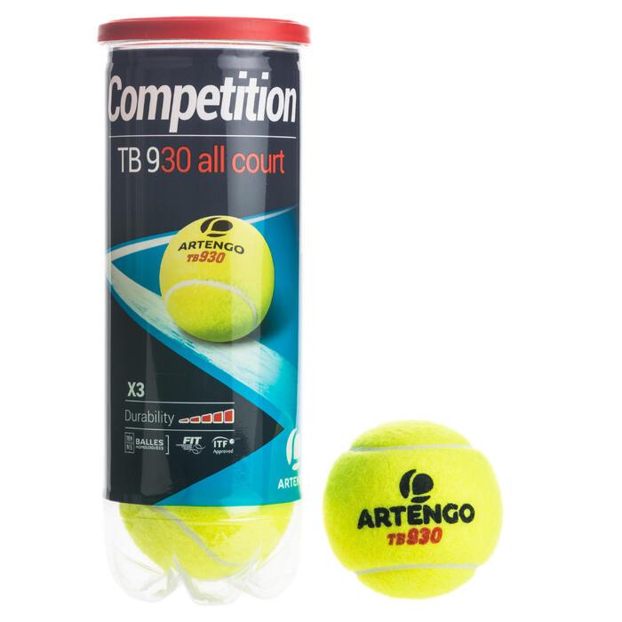 Tennisballen voor competitie TB 930 3 stuks geel