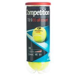 Tennisbal competitie TB 930 3 stuks geel