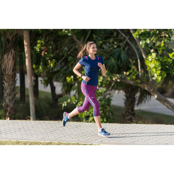 T-shirt korte mouwen jogging dames Run Dry+ marineblauw