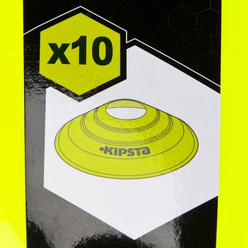 Flat Disc Markers 10-Pack - Neon Yellow