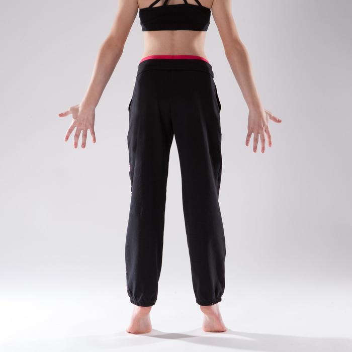 Pantalon de danse taille et bas de jambe élastiqués fille noir - 1337586
