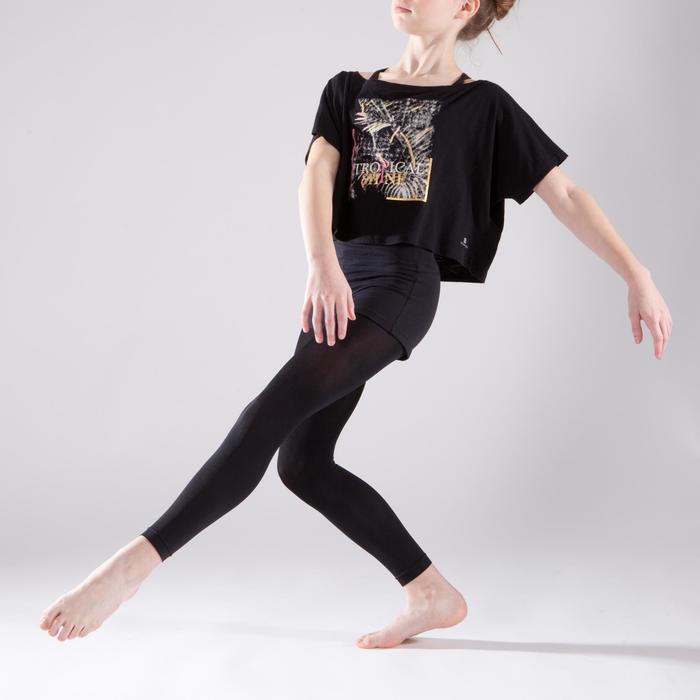 T-shirt manches courtes de danse, court et ample, fille noir - 1337590