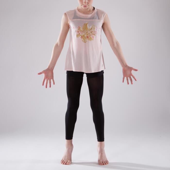 T-shirt manches courtes de danse fille rose pâle - 1337592