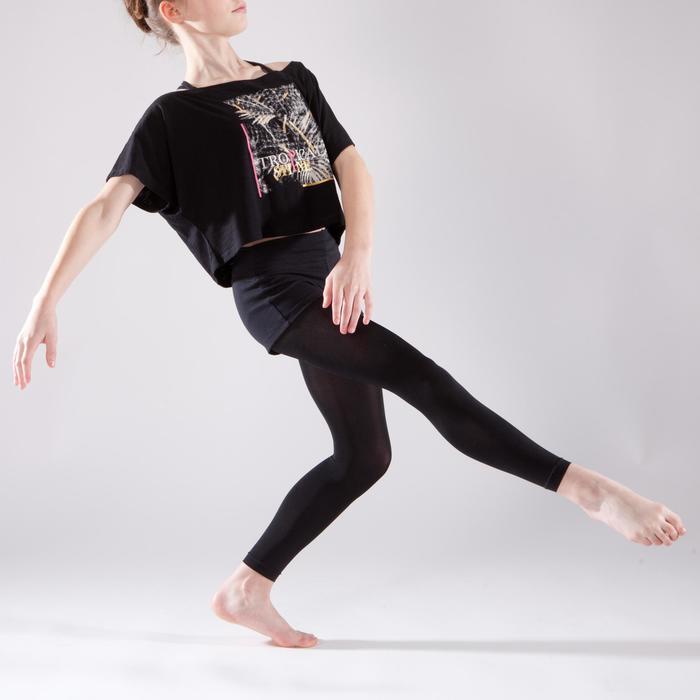 T-shirt manches courtes de danse, court et ample, fille noir - 1337593