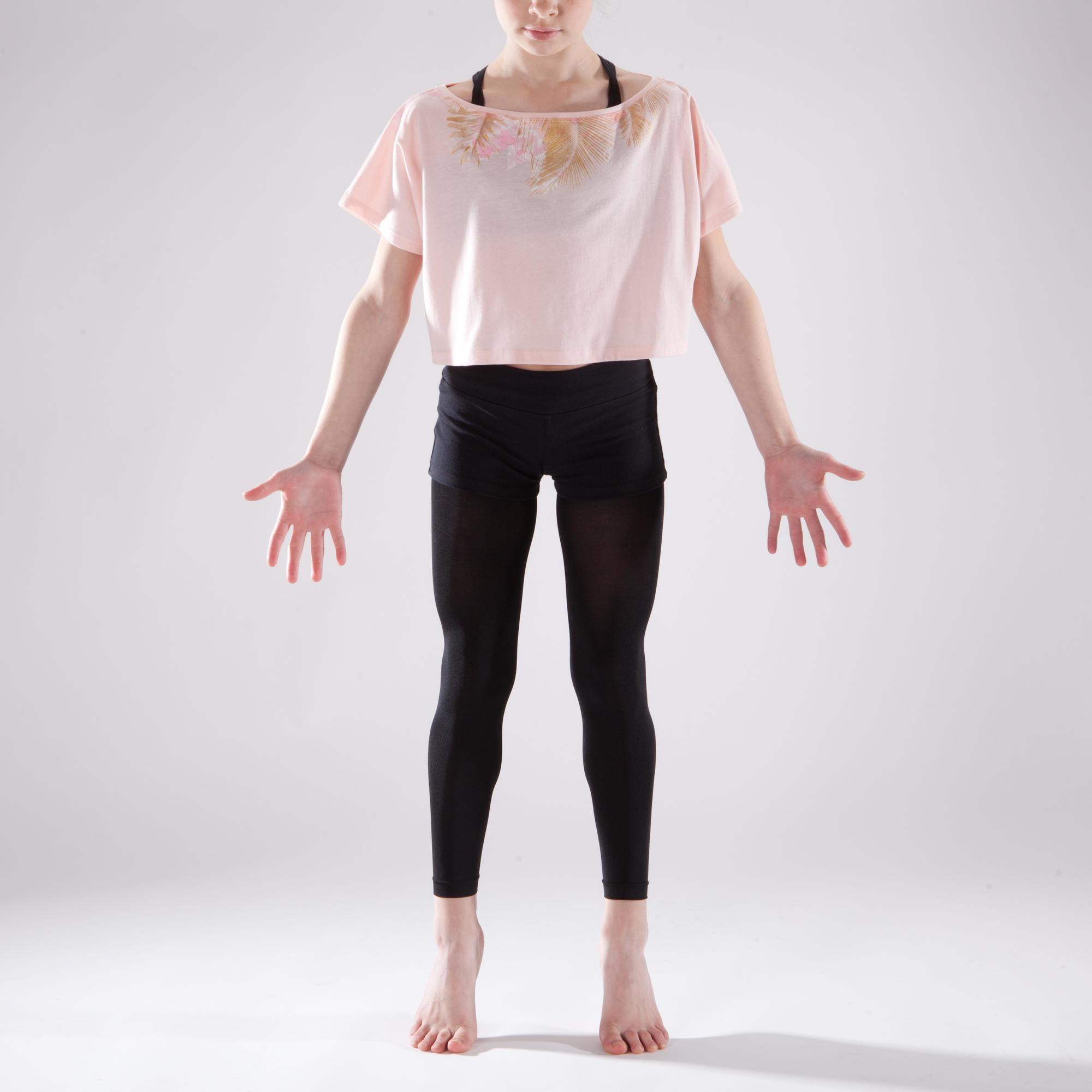 t shirt manches courtes de danse court et ample fille rose p le domyos by decathlon. Black Bedroom Furniture Sets. Home Design Ideas
