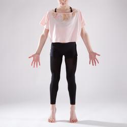 Camiseta danza rosa pálido corta y amplia manga corta niña