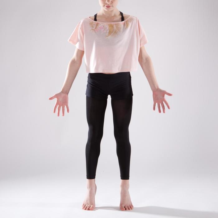 T-shirt manches courtes de danse, court et ample, fille rose pâle