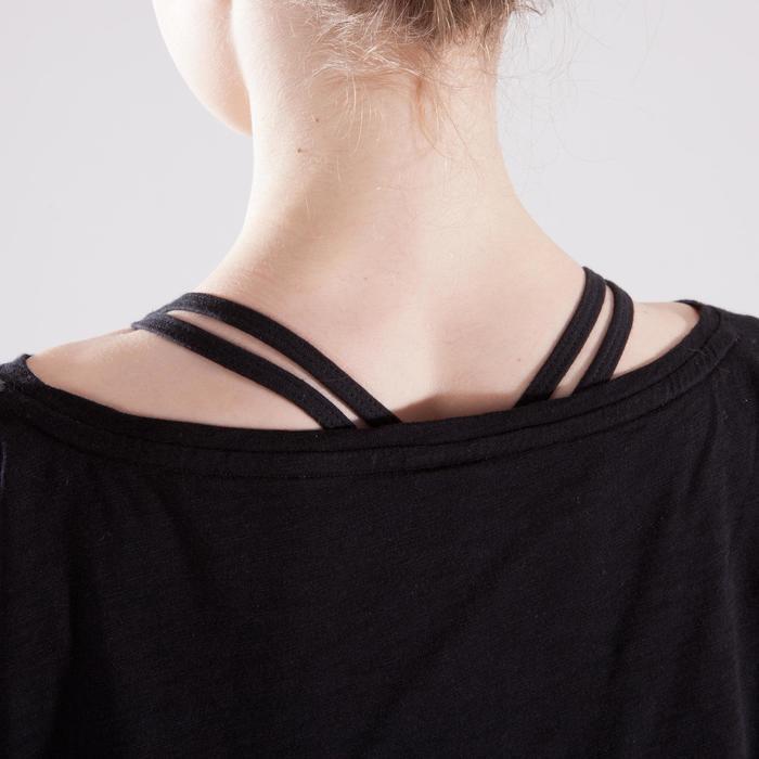 T-shirt manches courtes de danse, court et ample, fille noir