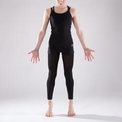 Danstuniek met dubbele bandjes voor meisjes zwart