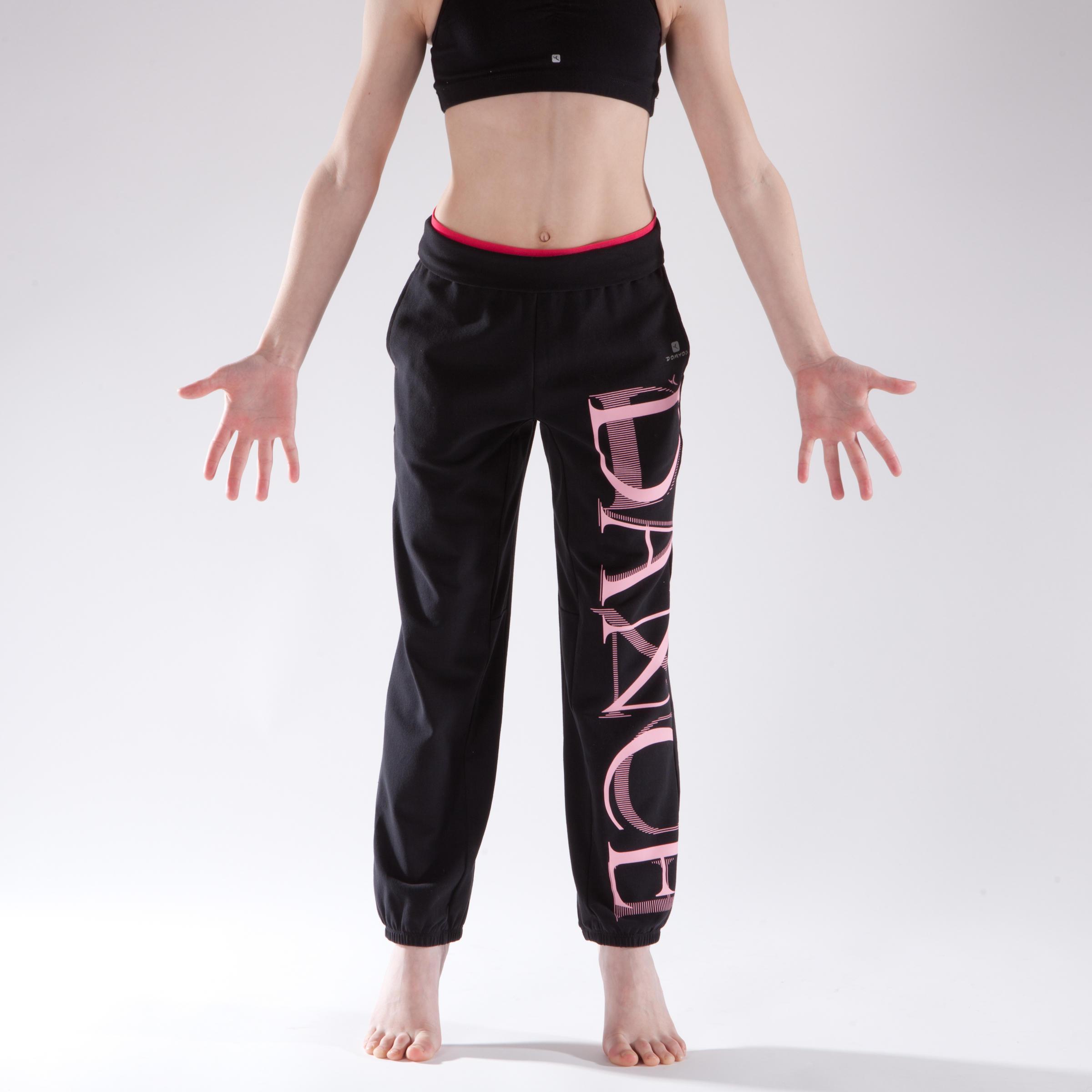 Girls' Elastic Waist and Hem Dance Bottoms - Black