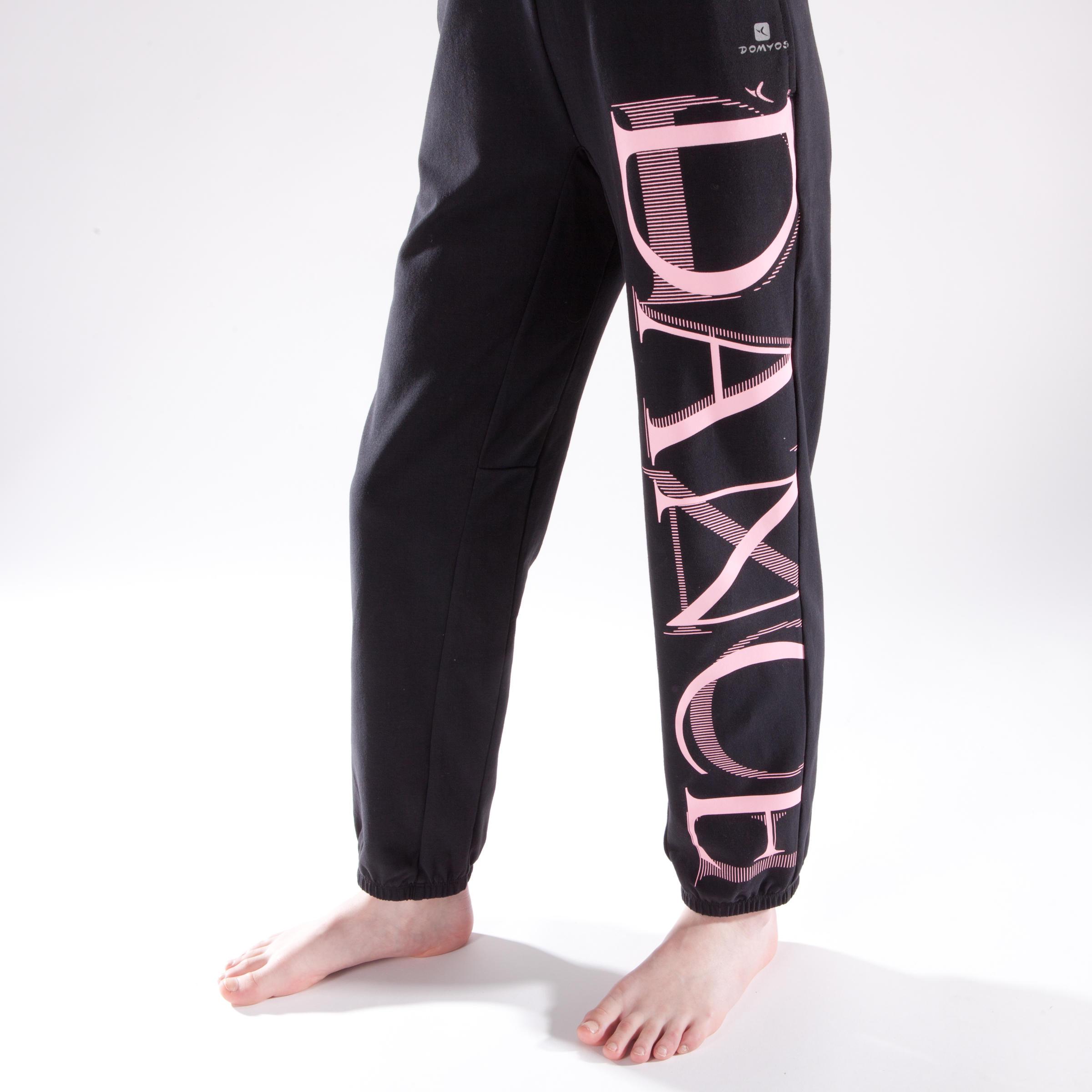 Pantalon de danse taille et bas de jambe élastiqus fille noir