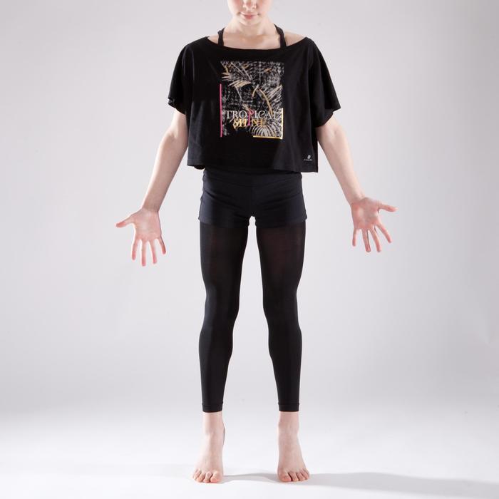 T-shirt manches courtes de danse, court et ample, fille noir - 1337645