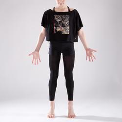 Dance-Shirt Kurzarm kurz und weit geschnitten Kinder schwarz