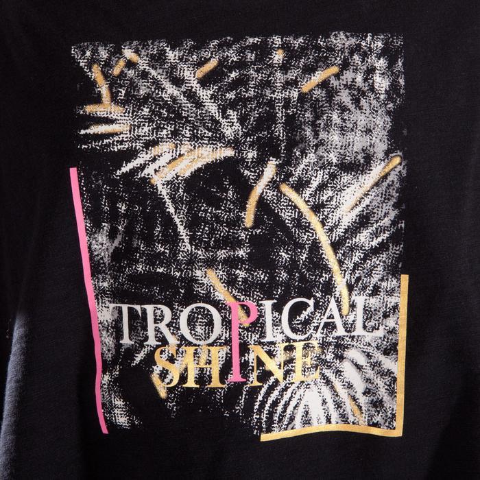 T-shirt manches courtes de danse, court et ample, fille noir - 1337647