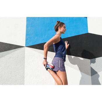 Joggingshort voor dames Run Dry print blauw/koraalrood
