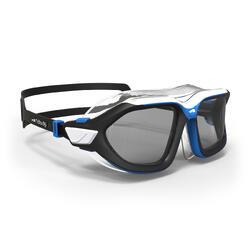 游泳面鏡500 ACTIVE ASIA,L號,黑色藍色,深色鏡片