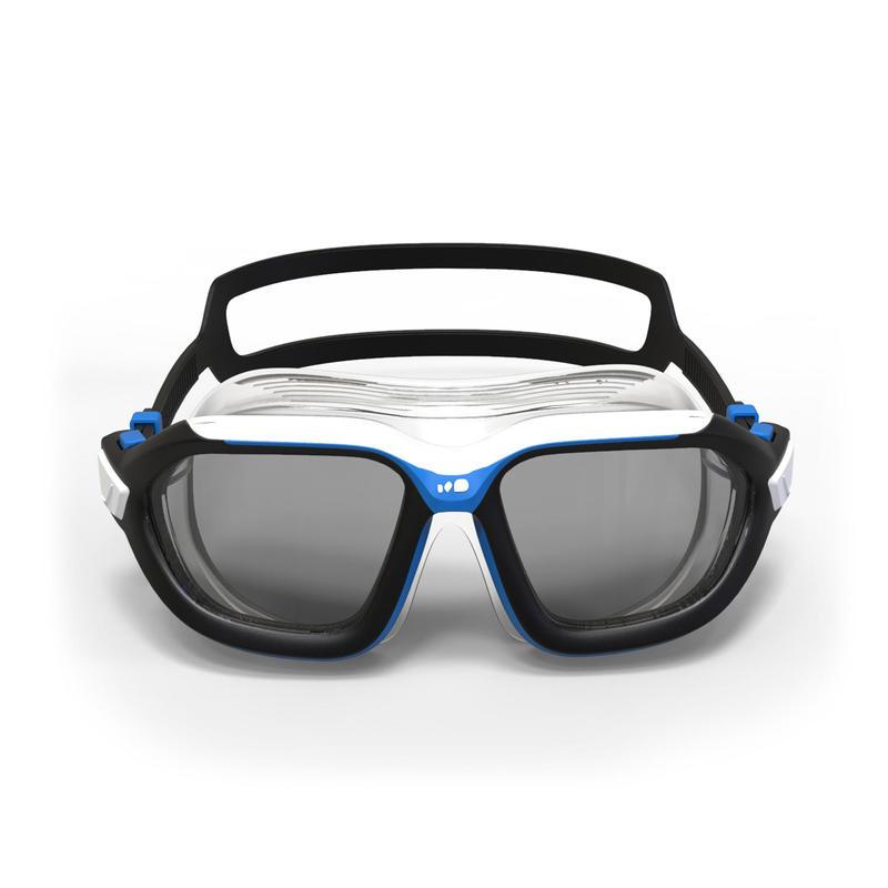500 ACTIVE ASIA Swimming Mask, L, Black Blue, Smoke Lenses