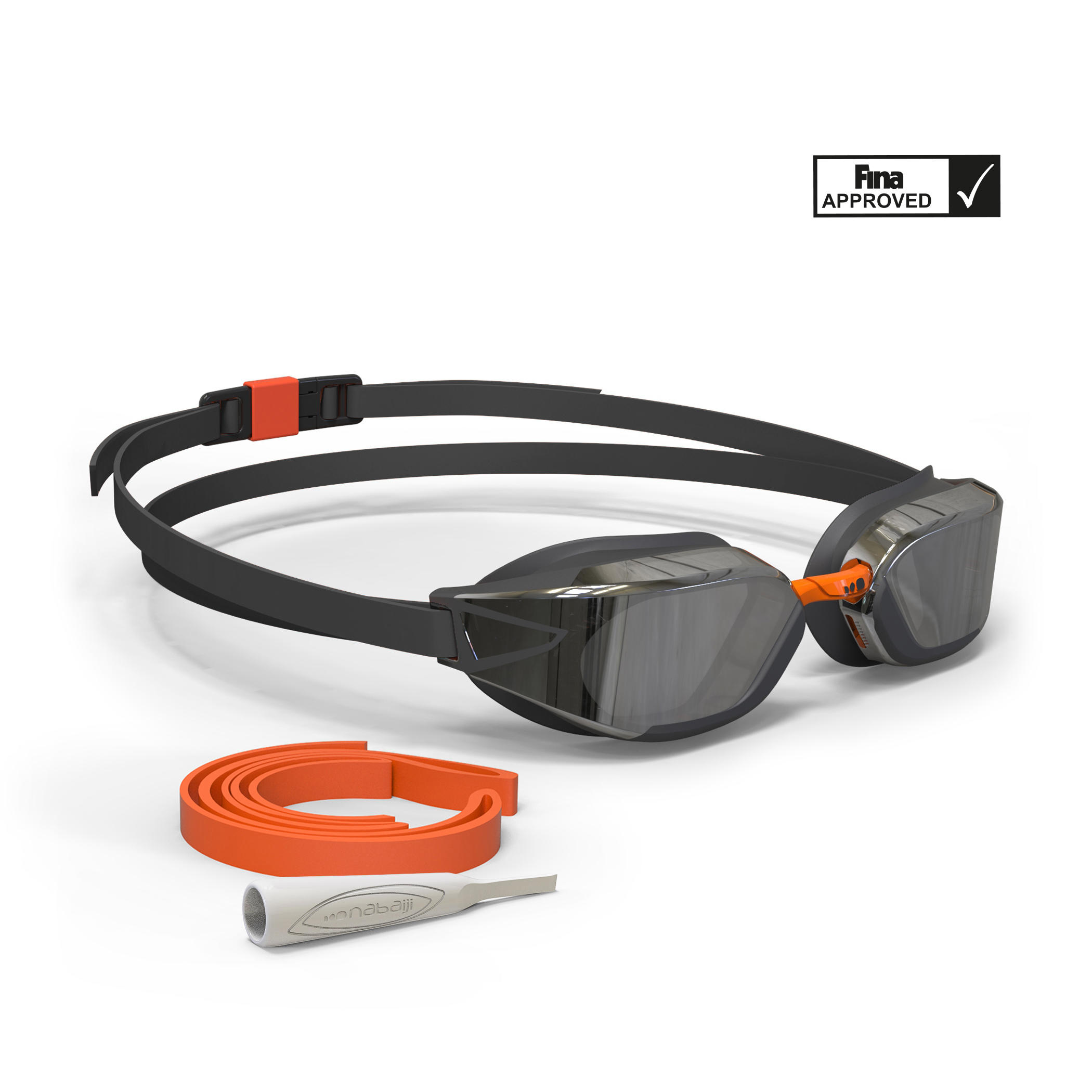 B-Fast Swimming Goggles - Mirrored Black Orange